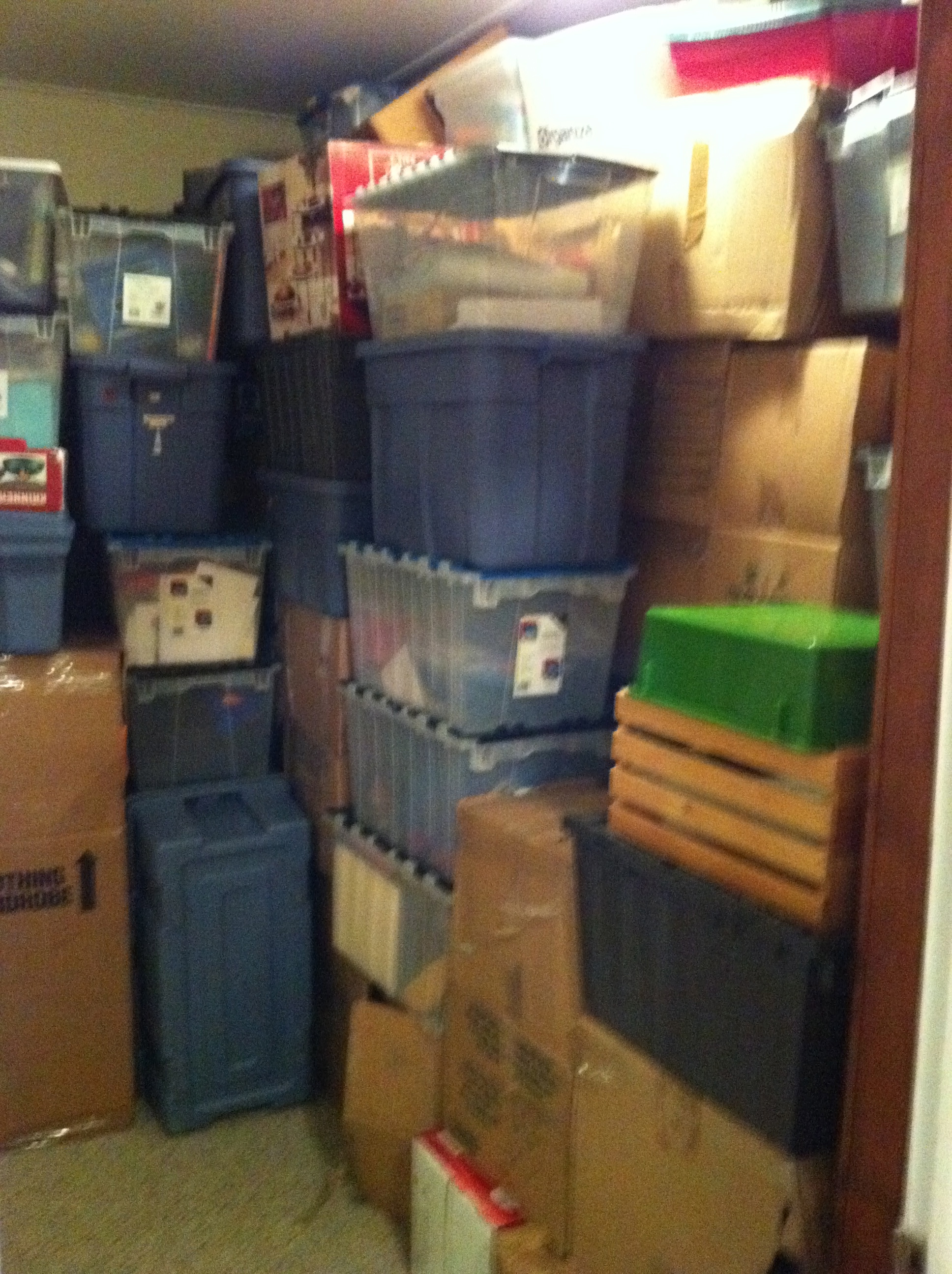 Pile of boxes at new house.